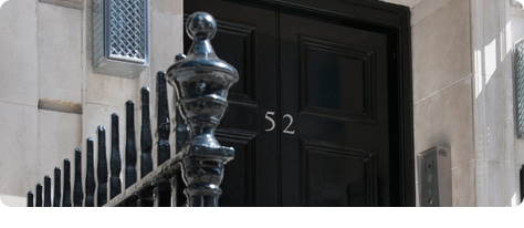 The front door at 52 Harley Street